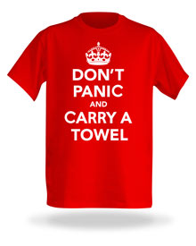 Towel Day shirt from Think Geek